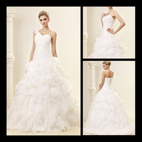2013 new elegant ball gown one side shoulder sweetheart layers organza wedding dress from china factory jj074