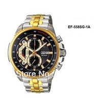 Free Shipping New Gold EF-558SG-1AV EF-558SG-1A Mens CHRONOGRAPH TACHYMETER MINERAL Glass 100M GENTS Wristwatch