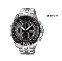 Free Shipping NEW EF-558D-1AV EF-558D 558D NEW MEN'S CHRONOGRAPH TACHYMETER MINERAL GLASS WATCH 100M GENTS WRISTWATCH