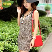2014 fashion sexy leopard print slim spaghetti strap tank women's basic shirt tops WC0301