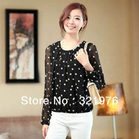 CC578# tops-New 2013 Female Long-sleeved Long Section Polka Dot Plus Size Chiffon Bottoming Shirt