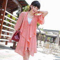 2013 plus size clothing sunscreen shirt solid color lacing ruffle fifth sleeve chiffon shirt