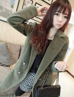 2013 Free Shipping Wholesale Autumn and Winter KOREAN Occident OL Style Slim Fit Long Sections Long Sleeves Woolen Coat