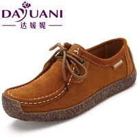 Genuine leather autumn 2014 ladys flat snail shoes,Pregnant women shoes casual comfortable single shoes,lace-up