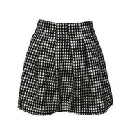 11.11 autumn and winter black and white houndstooth flower pleated short half-length skirt all-match puff skirt