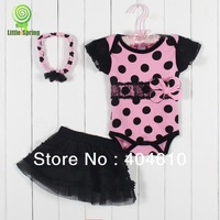 Baby three-piece ! New arrived ! Cute girls baby romper + skirt + hairband big dot ELZ-T0176