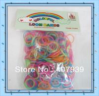 Free ship  GLOW 300pcs  loom bands hottest  loom kits rubber bands loom kit DIY bracelets Christmas gift present