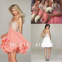 Beach Style Coral White Sweetheart Beaded Short Chiffon Bridesmaid Dress Brides Maid Dress Free Shipping BN129