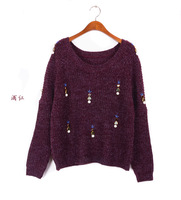 Hot sale!4colors 2014 woman Korean style autumn winter woman sweater  Loose long sleeves Brief paragraph woollen sweater