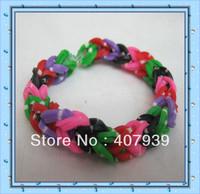 Free ship DHL 300pcs/bag White point colorful loom bands Double color loom rubber bands loom kit DIY bracelets