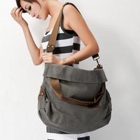 Women's handbag 2012 canvas genuine leather one shoulder cross-body dual-use package large capacity vintage travel bag