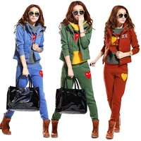 Fashion New Women Winter Warm Thick Fleece Lovely Patch Hoodies and Sweatshirt Hoody Vest Pants 3PCS Suit Sports Clothing Set