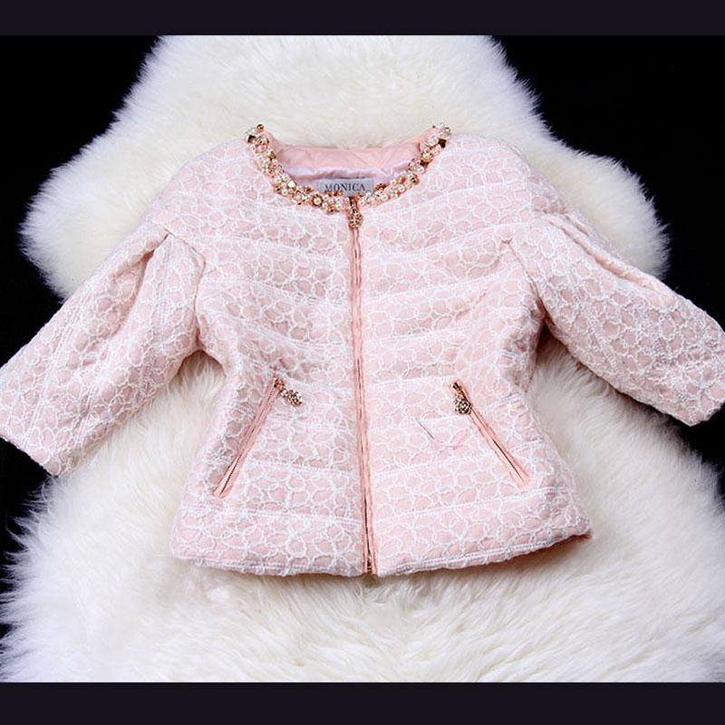 2013 autumn and winter slim short design wadded jacket cotton-padded jacket women's sweet puff sleeve wadded jacket(China (Mainland))