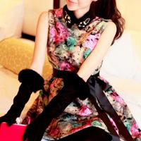 2013 spring woolen slim sleeveless one-piece dress short skirt bridesmaid dress female