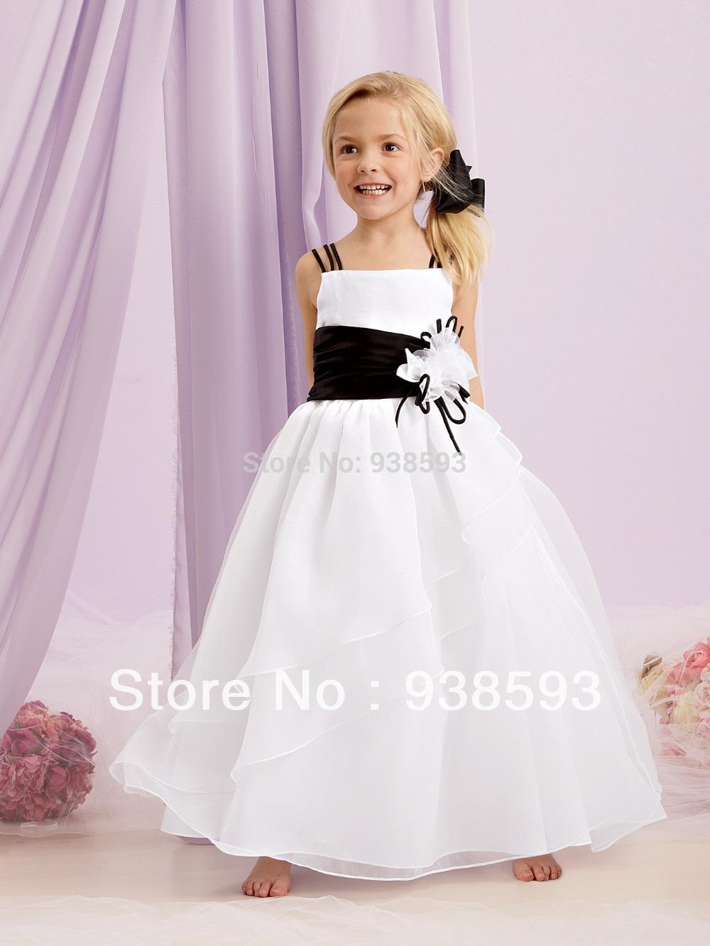 wholesale flower girl black dress