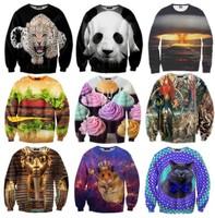 New 2014 Winter Women/Men Space print Galaxy hoodie Sweaters Pullovers panda/tiger/cat animal 3D Novelty Sweatshirt Tops T Shirt