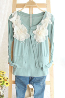 2013 o-neck lace flower long-sleeve twinset short jacket female
