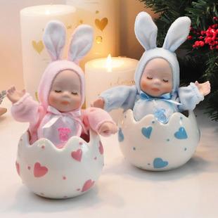 Presente presentes caixa de música de cerâmica caixa de música namorada presente de aniversário da boneca de cabeça bobble bebê Coelho(China (Mainland))