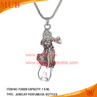 Fine female ruby silver necklace pendants mini perfume clear bottle pendant necklace