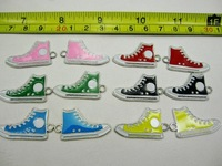 FREE SHIPPING  17MM*31MM MULTICOLOR METAL HIGH TOP SHOE ENAMEL CHARMS 12PCS/DOZ