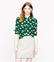 Free shipping Fall fashion long sleeves women shirt Green color butterfly blouse women chiffon Tops
