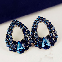 Stylish and elegant personality blue crystal earrings R4031