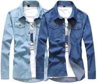 2014 Spring Casual Social Shirt Men's Metal Buttons Denim Shirt  Slim Fit Fashion men Jeans Shirt Long-Sleeve