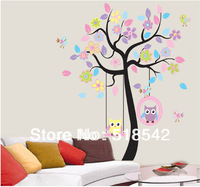 "Free Shipping:Cute Owl Tree Wall Decals/Removable 3D  DIY PVC Wall stickers Mural For Kids Nursery Room Decor 160*160cm/63""*63in"