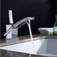 2014 NEW modern bathroom faucet basin mixer brass glass tap Chromed mixer tap