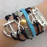 SL31244 Promotional Casual vintage weave bracelet,charm bracelets 2014, weave friendship bracelets,6pcs / lot & Free shiping