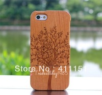 Free Shipping Beautiful Carving Tree Wooden Back Hard Cover Case Protector For Apple iPhone5C