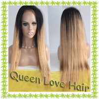 two tone color ombre #1b/#27 yaki straight 150-180% AAAAA Grade high density full lace wig Brazilian Virgin hair queen love hair