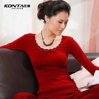 Female laciness modal o-neck thin thermal underwear long johns basic shirt top