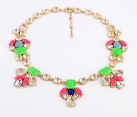 Fashion fashion accessories neon multicolour crystal pendant necklace