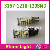 2pcs 3157 1210 / 3528 120 SMD White / Amber Dual Color Switchback LED Turn Signal Light Bulbs
