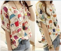 New arrival 2013 women's Summer new fashion print short-sleeve chiffion blouses shirts tops