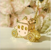 Mix order>=15usd Accessories sweet shallow pink rhinestone pumpkin car necklace