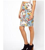 New Sprint Summer 2014 Women Flower Skirts Free Shipping Floral Printed Ladies Brand Skirt