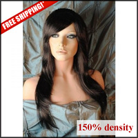 150% density glueless full lace wig virgin brazilian hair light yaki straight with full bang right side in color #1, 1b, 2
