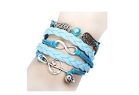Min.Order $10 (Mix order ) New Arrivals Vintage Happy notes infinity Bracelet,Woven Leather Bracelet set,Charm Wristbands SET