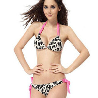 Free Shipping 2014 Wild leopard print limit temptation swimwear bikini 1013