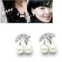 1065 gift pearl silver cherry stud earring earrings female