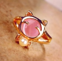 2120 bow lucky cat the cat - eye ring