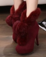 2013 winter platform thin heels high-heeled shoes women's shoes snow boots rabbit fur boots cotton-padded shoes plush shoes