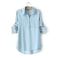 2014 Women's Girl Fashion Denim Long Sleeve Jeans Shirts Blue Blouse Tops Free Shipping