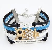 Min.Order $10 (Mix order ) New Arrivals Vintage infinity Bracelet,Woven Leather crystal owl Bracelet set,Charm Wristbands SET