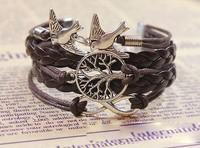 Min.Order $10 (Mix order ) New Arrivals Western Vintage infinity Bracelet,Woven Leather life tree bird Charm Wristbands SET