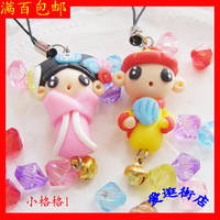 Polymer clay cell phone accessories mobile phone chain gift pottery small cartoon couple key chain