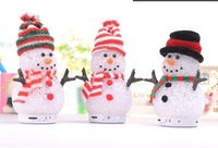 Cute Bluetooth speaker Colorful lights crystal snowman speaker portable Bluetooth audio support TFcard Christmas gifts