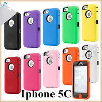 100pcs Colorful Heavy Duty Hybrid Rugged Matte Hard Case Soft Cover Skin For iPhone 5C + 100pcs Screen protector